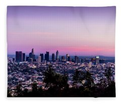 Los Angeles Skyline At Dusk Fleece Blanket