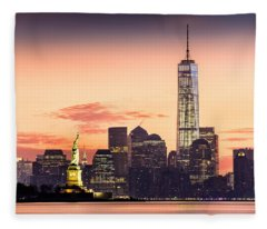 Lower Manhattan And The Statue Of Liberty At Sunrise Fleece Blanket