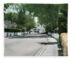 Mackinac Island Street  Fleece Blanket