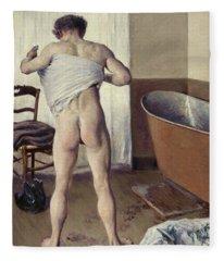 Man At His Bath Fleece Blanket
