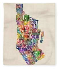 Manhattan New York Typographic Map Fleece Blanket