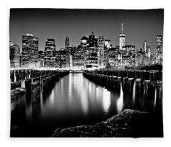 Manhattan Skyline At Night Fleece Blanket
