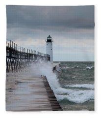 Manistee Pierhead Lighthouse-6 Fleece Blanket