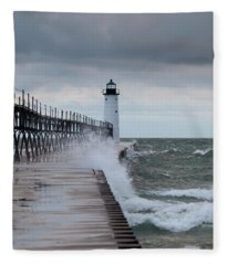 Manistee Pierhead Lighthouse-6 Fleece Blanket