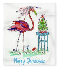Flossie Flamingo's Christmas Fleece Blanket