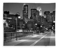 Minneapolis Skyline From Stone Arch Bridge Fleece Blanket