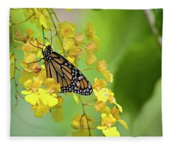 Monarch Butterfly On Yellow Orchids Fleece Blanket