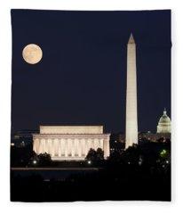 Moon Rising In Washington Dc Fleece Blanket