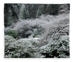 Morning Snow In The Garden Fleece Blanket