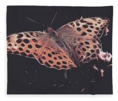 Mother Of Pearl Moth  Fleece Blanket