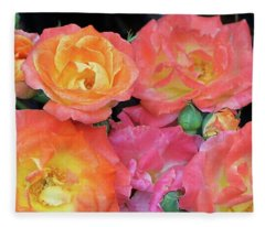 Multi-color Roses Fleece Blanket