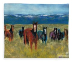Mustangs In Southern Colorado Fleece Blanket