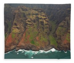 Napali Coast Aerial Fleece Blanket