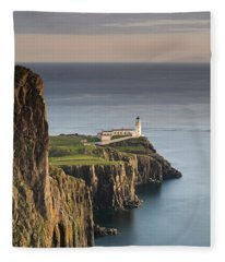 Neist Point At Sunset Fleece Blanket