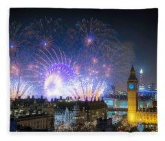 New Year Fireworks Fleece Blanket