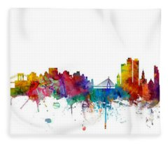 New York And Boston Skyline Mashup Fleece Blanket