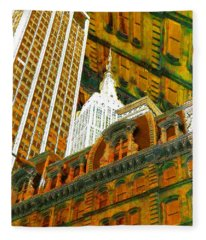 New York City Up Is Down Down Is Up Gold Fleece Blanket