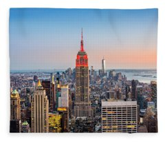 New York Skyline Panorama Fleece Blanket