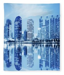 Night Scenes Of City Fleece Blanket