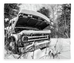 Old Abandoned Pickup Truck In The Snow Fleece Blanket