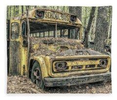 Old School Bus Fleece Blanket