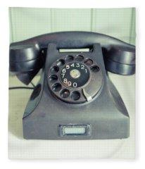 Old Telephone Square Fleece Blanket
