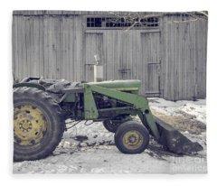 Old Tractor By The Grey Barn Fleece Blanket