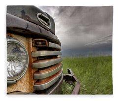 Old Vintage Truck On The Prairie Fleece Blanket
