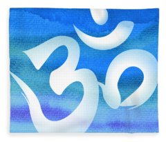 Om Symbol. Blue And White Fleece Blanket