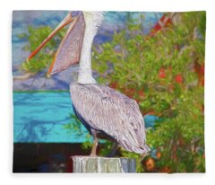 Open Mouthed Pelican Fleece Blanket
