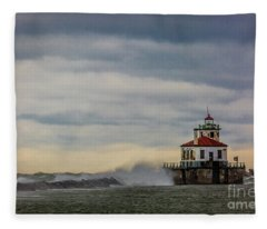 Oswego Harbor West Pierhead Light Fleece Blanket