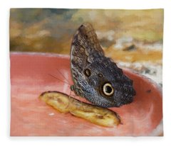 Fleece Blanket featuring the photograph Owl Butterfly 2 by Paul Gulliver