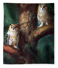 Owls In Moonlight Fleece Blanket