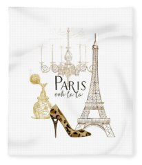Paris - Ooh La La Fashion Eiffel Tower Chandelier Perfume Bottle Fleece Blanket