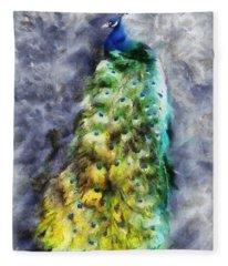 Peacock Portrait Fleece Blanket
