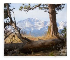 Pikes Peak And Trail To Bald Mountain Fleece Blanket