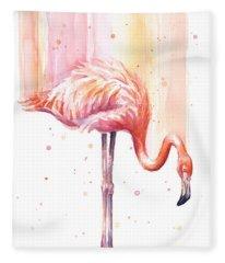 Pink Flamingo - Facing Right Fleece Blanket