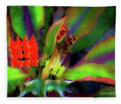 Plants And Flowers In Hawaii Fleece Blanket