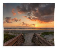 Ponce De Leon Inlet Beach Path Fleece Blanket