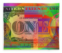 Pop-art Colorized One U. S. Dollar Bill Reverse Fleece Blanket