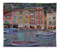 Portofino Al Crepuscolo Fleece Blanket