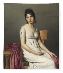 Portrait Of A Young Woman In White Fleece Blanket