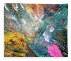 Fleece Blanket featuring the painting Prana by Michael Lucarelli