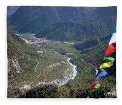 Prayer Flags In The Himalaya Mountains, Annapurna Region, Nepal Fleece Blanket