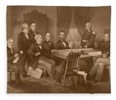 President Lincoln - His Cabinet And General Scott Fleece Blanket