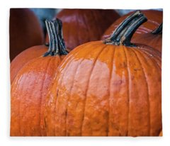 Pumpkins In Rain Fleece Blanket
