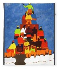 Pyramid Of African Drummers Fleece Blanket