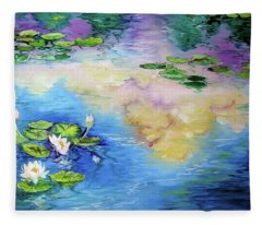 Reflections On A Waterlily Pond Fleece Blanket