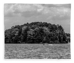 Relaxing On Lake Keowee In South Carolina Fleece Blanket
