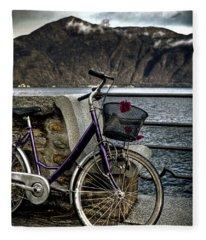 Retro Bike Fleece Blanket